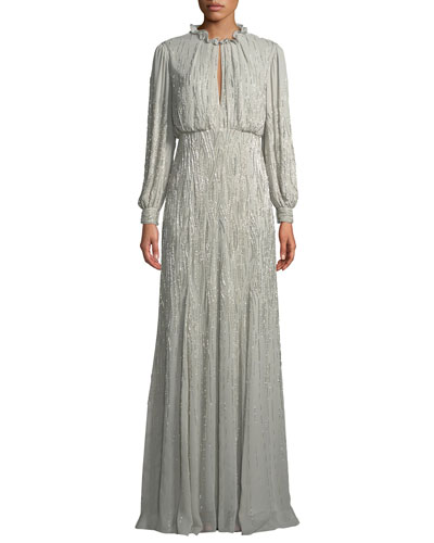 Long-Sleeve Ruffled-Collar Beaded-Embellished Silk Evening Gown