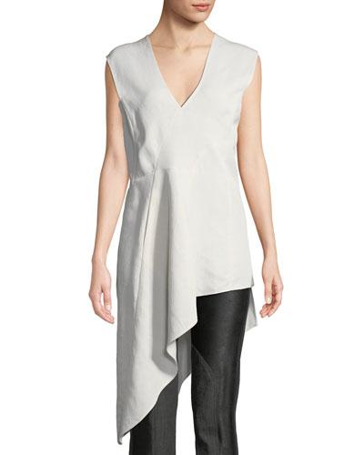Eve Mosa Sleeveless Linen-Blend Asymmetric Tunic