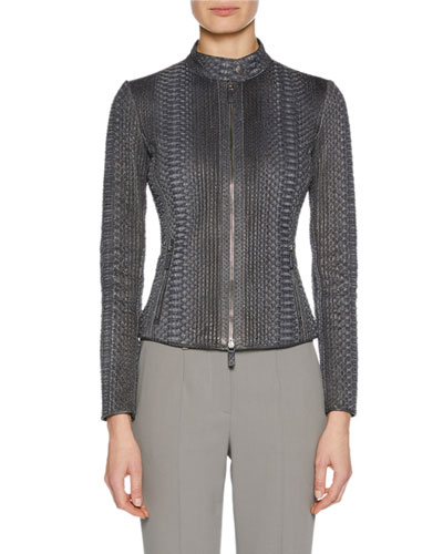 Python Snakeskin Zip-Front Fitted Jacket