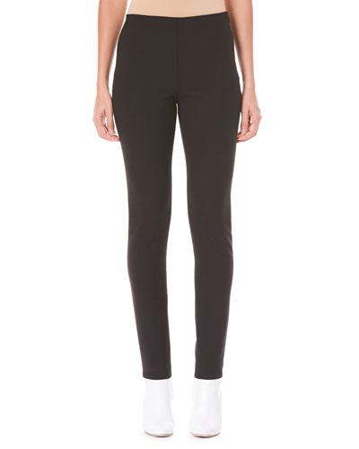 Side-Zip Skinny Wool-Blend Pants