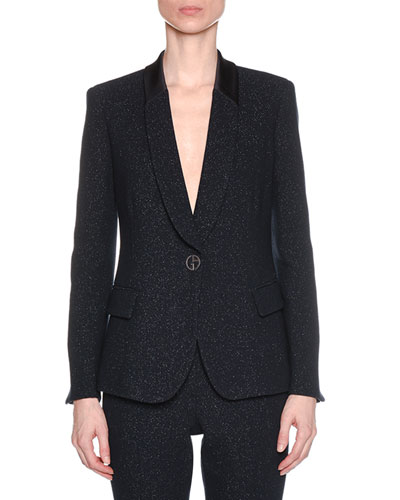 One-Button Metallic Double-Face Wool Blazer w/ Satin Collar