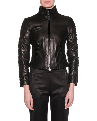 Zip-Front Lamb Leather Jacket w/ Velvet Side Stripe