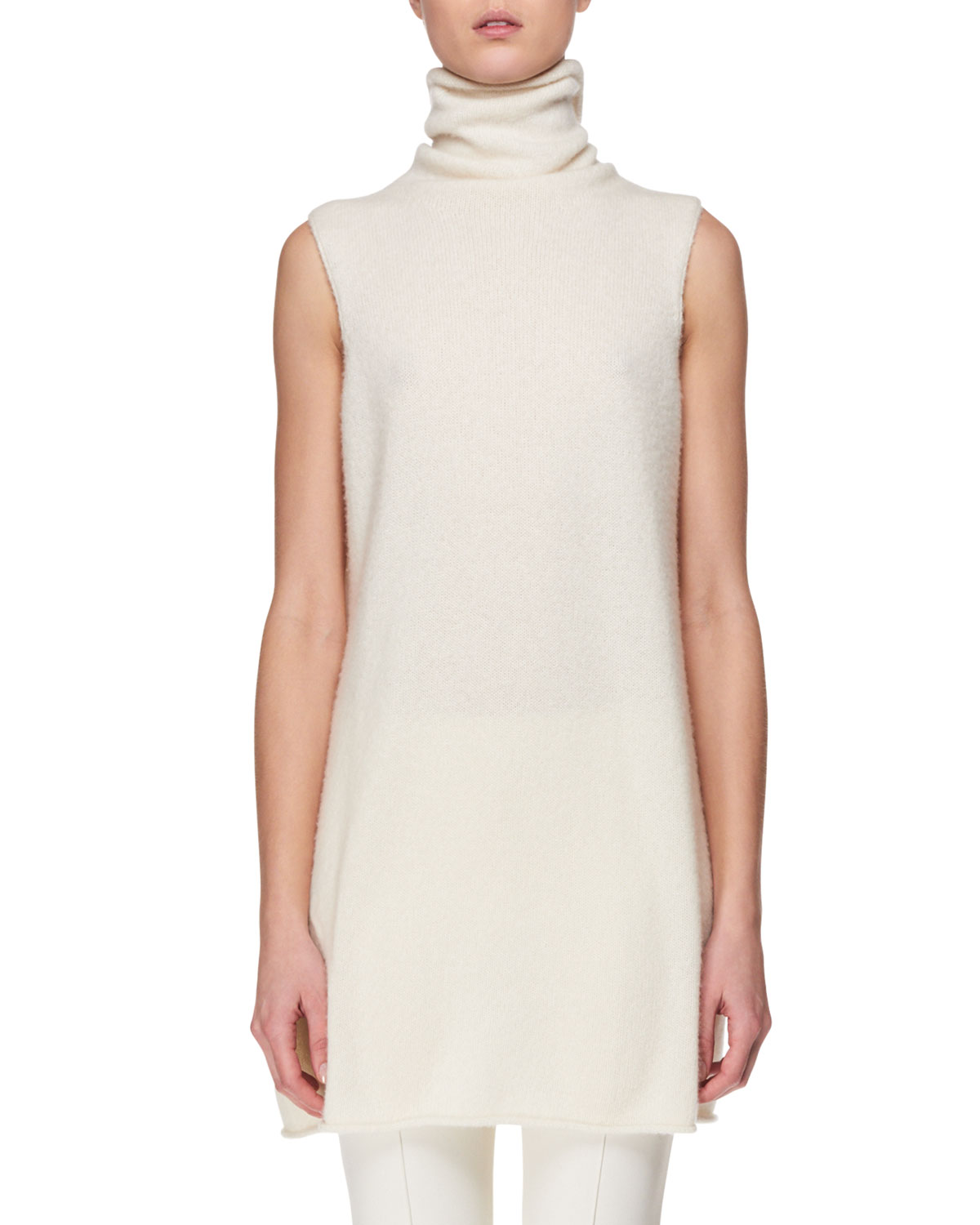 Leond Sleeveless Cashmere-Silk Turtleneck Top