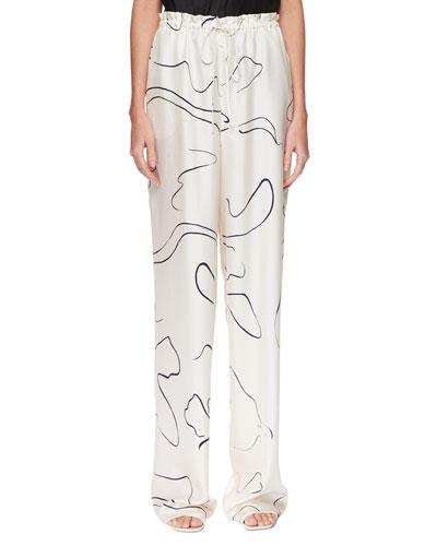JR Abstract-Print Silk Drawstring Pants
