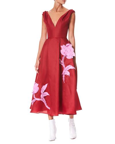 V-Neck Sleeveless Floral-Embroidered Tea-Length Cocktail Dress