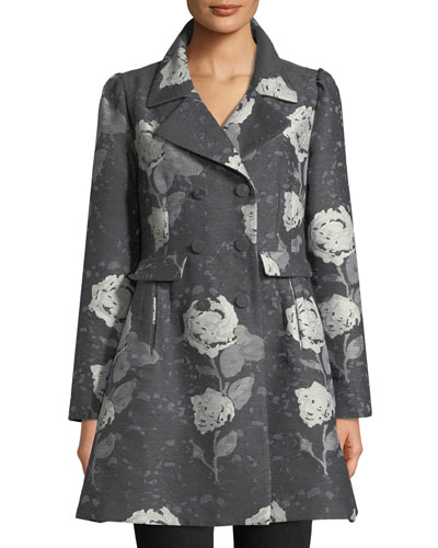 Double-Breasted Floral-Jacquard Wool Car Coat