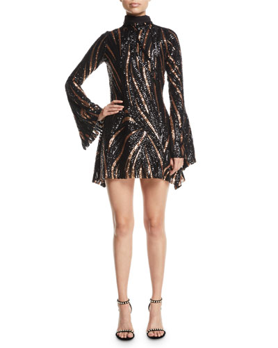 Turtleneck Bell-Sleeve A-Line Sequin-Stripe Cocktail Dress