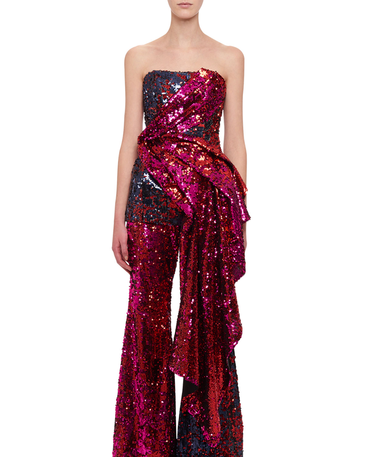 Strapless Bustier Draped Sequin Top