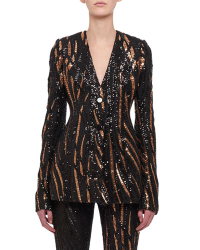 V-Neck Long-Sleeve Button-Front Striped-Sequin Jacket