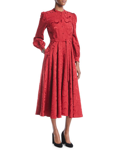 Button-Down Long-Sleeve Spiral-Jacquard Midi Dress