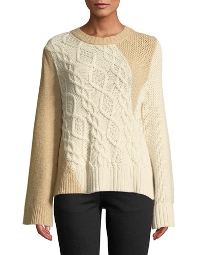 Crewneck Long-Sleeve Patchwork Cable-Knit Tunic Sweater