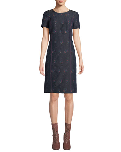 Crewneck Short-Sleeve Floral-Print Sheath Dress
