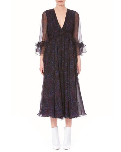 V-Neck Ruffled Long-Sleeve Silk Chiffon Midi Dress