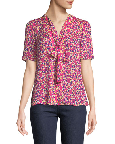 Tie-Neck Short-Sleeve Confetti-Print Silk Blouse