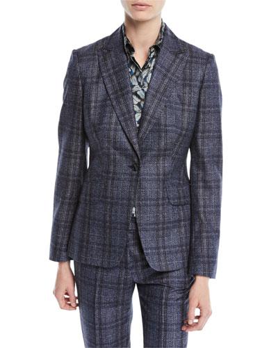 One-Button Plaid Cashmere-Blend Jacket