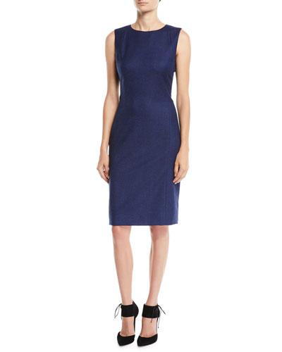Sleeveless Jewel-Neck Sheath Wool-Blend Dress