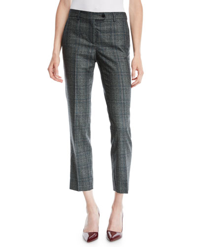 Plaid Skinny Ankle Cashmere-Blend Pants