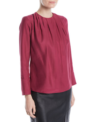 Ruched-Neck Long-Sleeve Silk Blouse