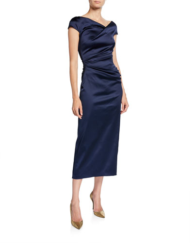 Roya High-Neck Cap-Sleeve Draped Midi Satin Cocktail Dress