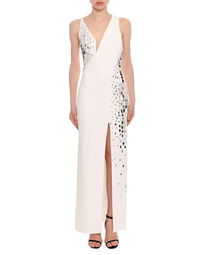 Embellished Silk Cady Column Evening Gown w/ Mesh Inserts