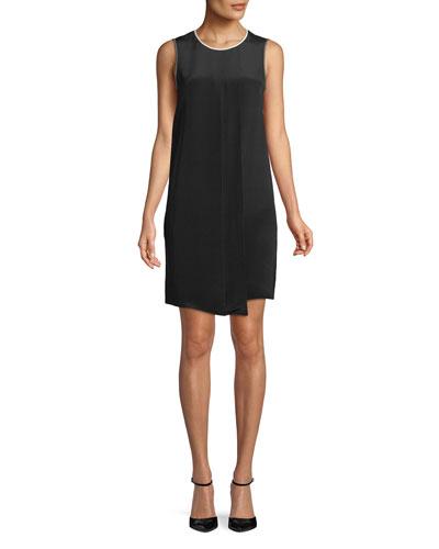 Satira Crewneck Sleeveless Pleated-Front A-Line Silk Dress