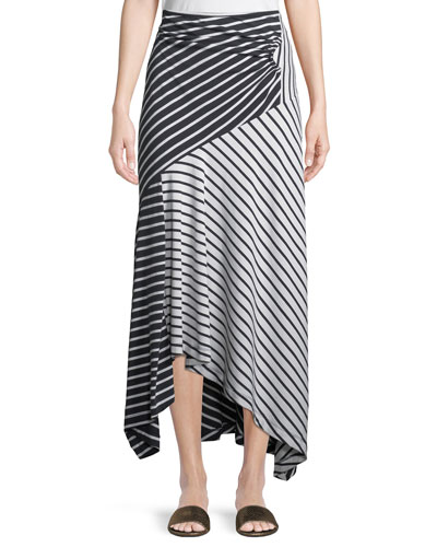 Striped Jersey A-Line Midi Skirt