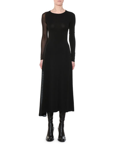 Round-Neck Long-Sleeve Sheer-Inserts Asymmetric Midi Dress