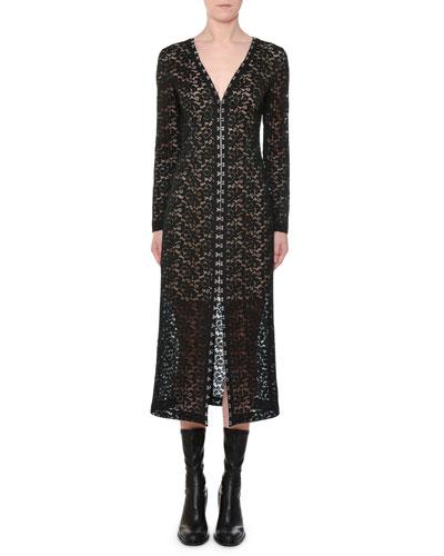 V-Neck Hook-Front Long-Sleeve Lace Midi Dress