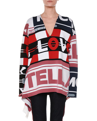 V-Neck Logo Intarsia Pullover Sweater w/ Fringe