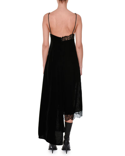 Stella McCartney V-Neck Sleeveless Velvet Lace A-Line Midi