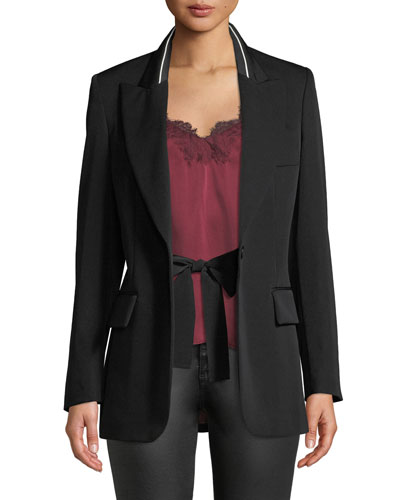 Tie-Waist Boyfriend-Fit Wool Blazer w/ Piping