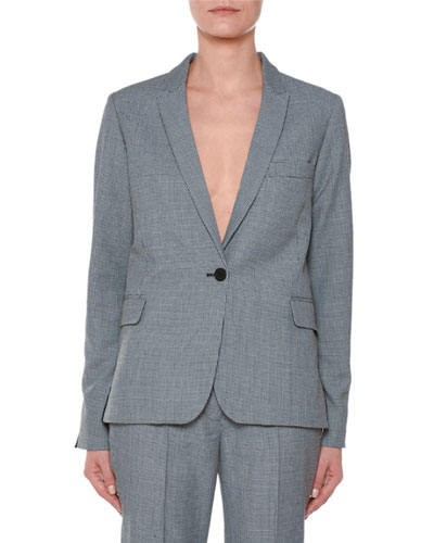 One-Button Two-Tone Check Wool Blazer with Piping Detail