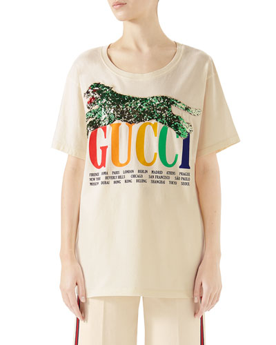 b338d508b79 Gucci Cities Crewneck Short-Sleeve Cotton T-Shirt with Sequined Panther  Detail