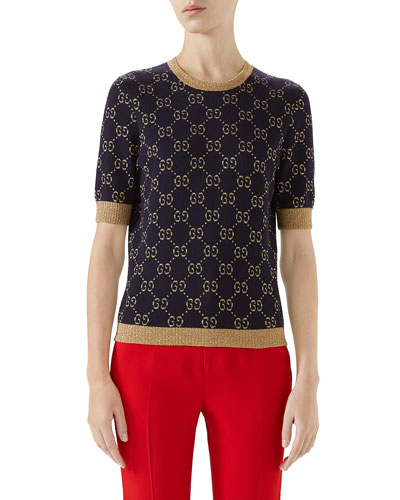 cc7c32e0c1c Gucci Sweater. Crewneck Short-Sleeve Metallic GG Jacquard Sweater