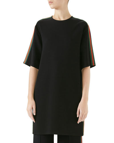 Short-Sleeve Boxy Light-Viscose Cady Stretch Dress w/ Web Stripe