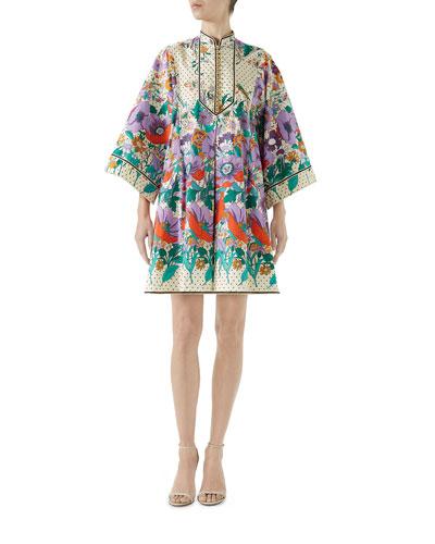 Long-Sleeve Button-Down Plastron Garden Floral-Print Stars Cotton Dress