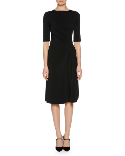 Elbow-Sleeve Ruched Jersey Dress