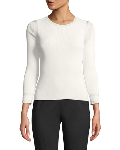 3/4-Sleeve Viscose Knit Top, White