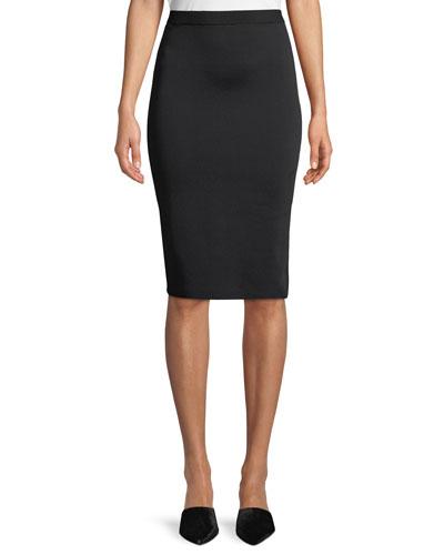 Viscose Knit Knee-Length Pencil Skirt