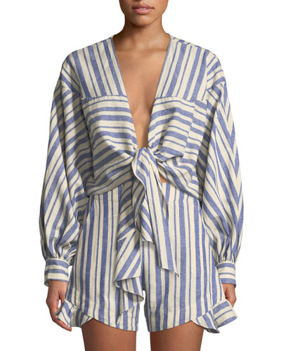 Long-Sleeve Tie-Front Striped Linen-Cotton Top