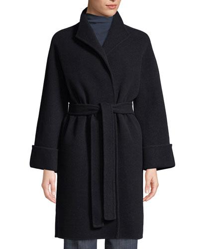 Wool-Blend Wrap Robe Coat