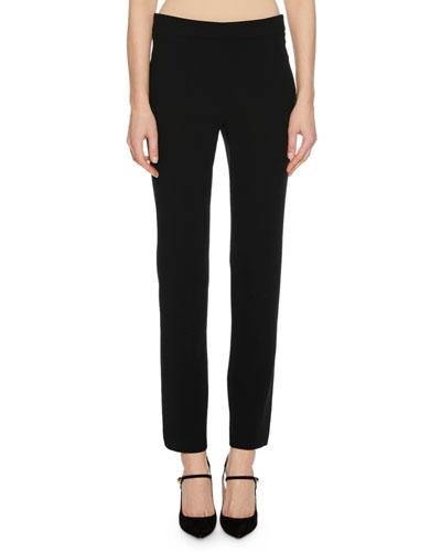 Straight-Leg Wool Crepe Crop Pants with Back Zip, Black