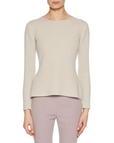 Crewneck Long-Sleeve Cashmere-Wool Blend Pullover Sweater w/ Slight Peplum