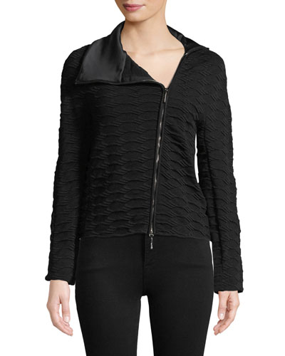 Asymmetric-Zip Textured Knit Jacket w/ Satin Collar