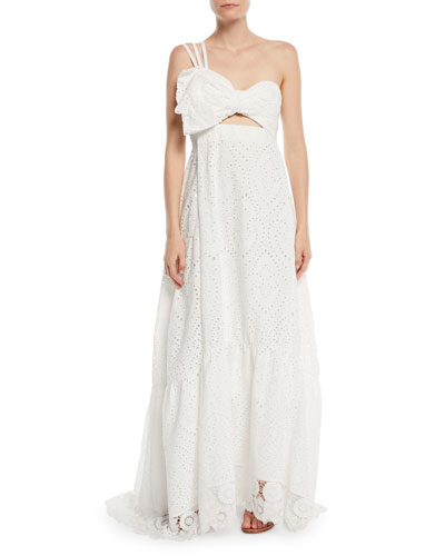 One-Shoulder Cotton Eyelet Maxi Dress w/ Bow Top