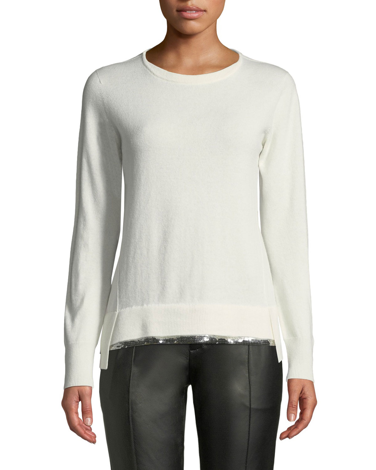 Crewneck Long-Sleeve Cashmere Sweater w/ Sequin Hem, White