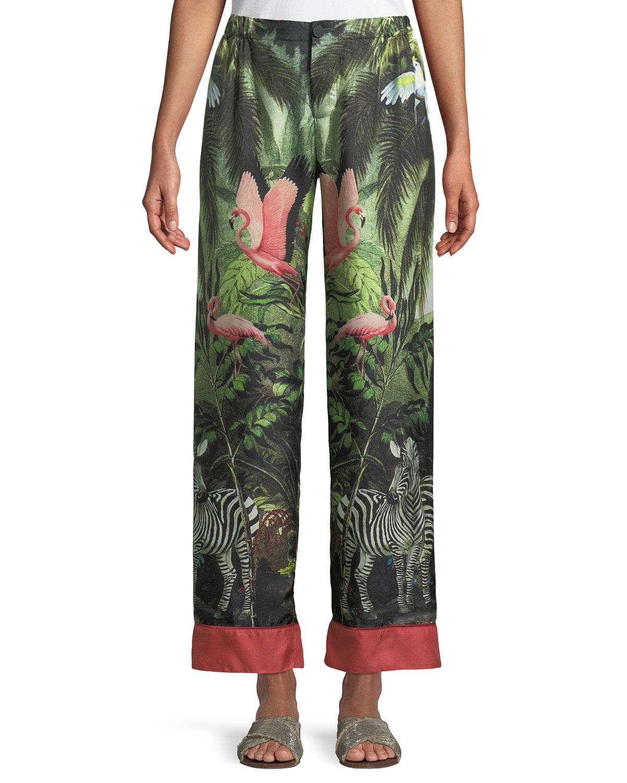 Exotic Jungle-Print Wide-Leg Pants