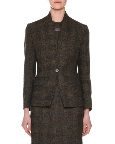 One-Button Fitted Alpaca-Blend Tweed Check Jacket