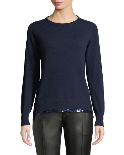 Crewneck Long-Sleeve Pullover Cashmere Sweater w/ Sequin Hem, Blue