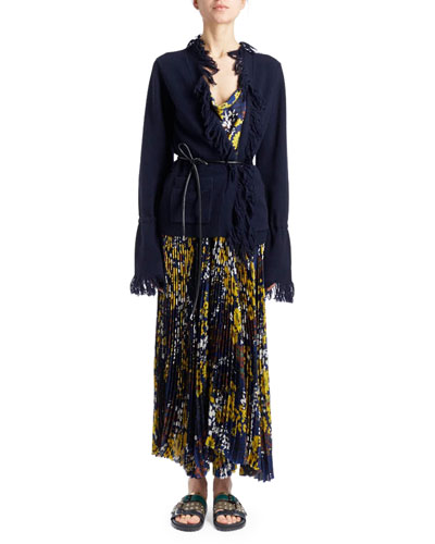 Scoop-Neck Floral-Print Pleated Long Dress with Fringed Cardigan